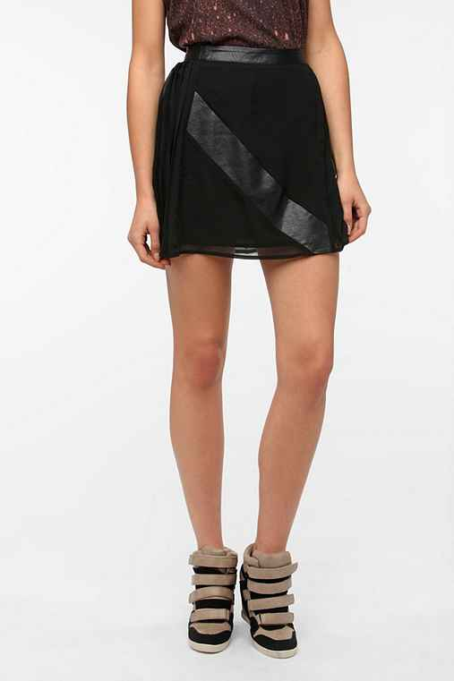 Sparkle & Fade Faux Leather Mix Pleated Skirt