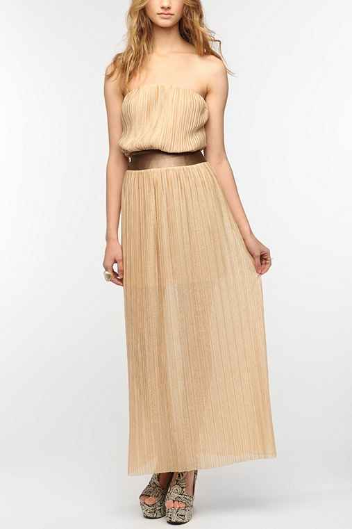 Dress The Population Pleated Metallic Maxi Dress