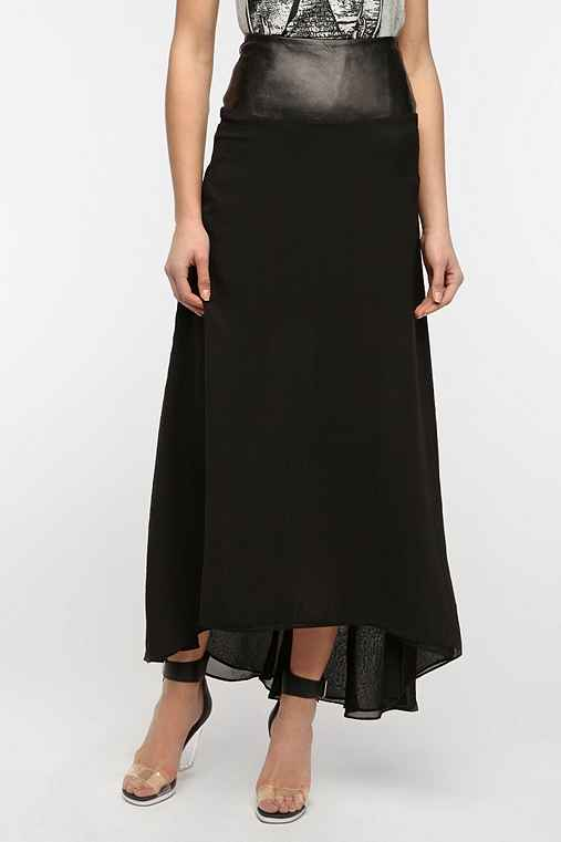 Dress The Population Leather Waistband Maxi Skirt