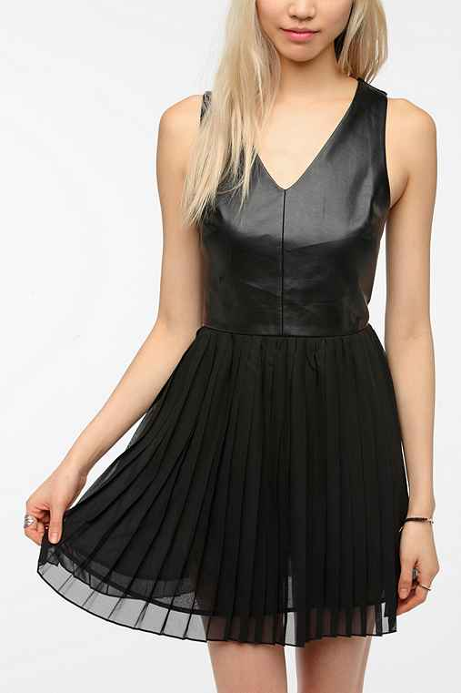 COPE Faux Leather Bodice Chiffon Dress