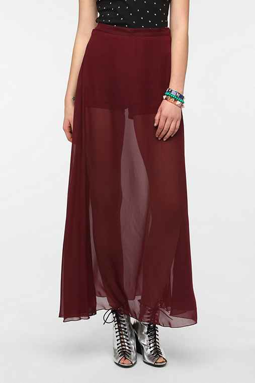 Sparkle & Fade Short-Lined Chiffon Maxi Skirt