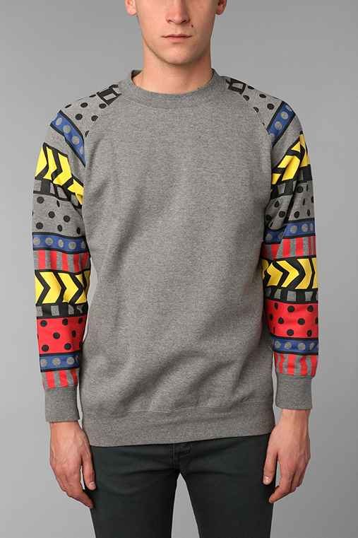 Lazy Oaf Pattern Sleeve Pullover Sweatshirt