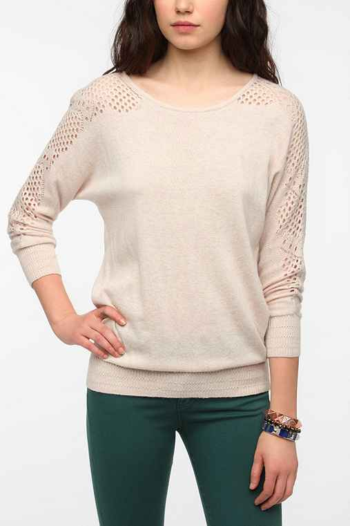 Mystree Eyelet Trim Dolman Sweater