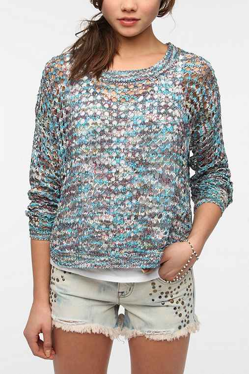 Staring at Stars Metallic Open-Knit Sweater
