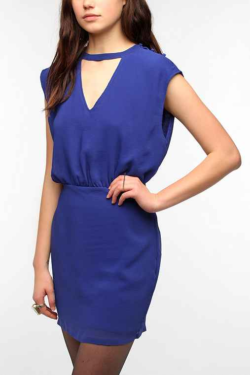 Silence & Noise Chiffon Banded Neck Dress