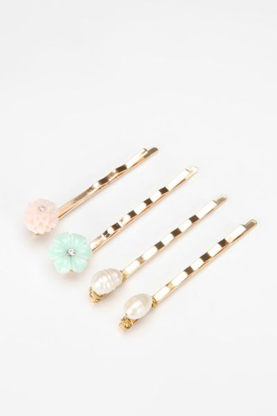 Pearl & Flower Bobby Pin - Set of 4