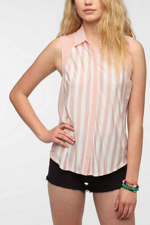 Silence + Noise Optic Stripe Button-Down Tank Top