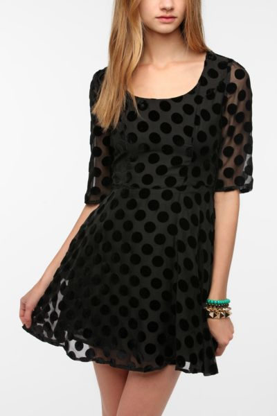 MINKPINK Formerly Velvet Polka Dot Dress