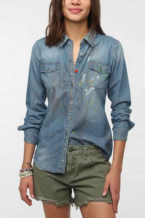 BLANKNYC Paint Splatter Chambray Shirt