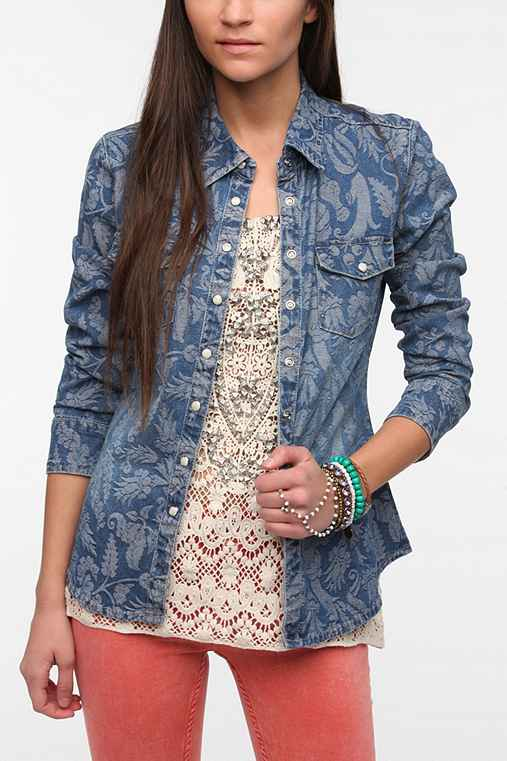 BLANKNYC Jacquard Chambray Button-Down Shirt