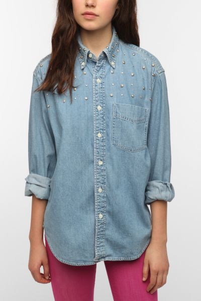 Urban Renewal Embellished Denim Shirt
