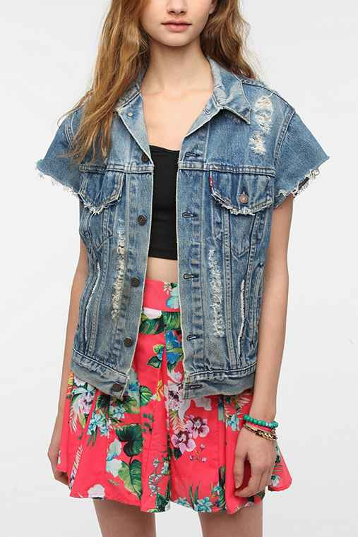 Urban Renewal Cap Sleeve Denim Jacket