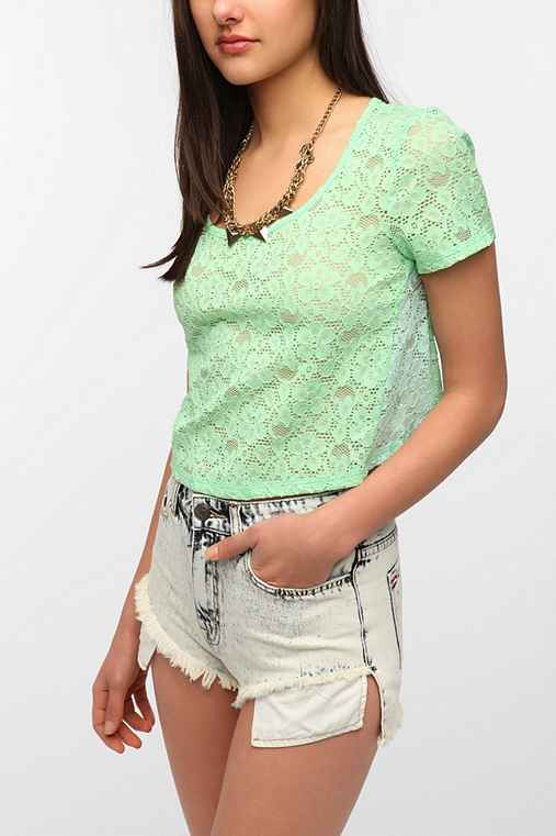 Tela Cropped Lace Colorblock Tee