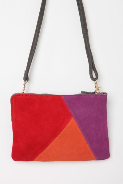 Cooperative Suede Patchwork Crossbody Clutch