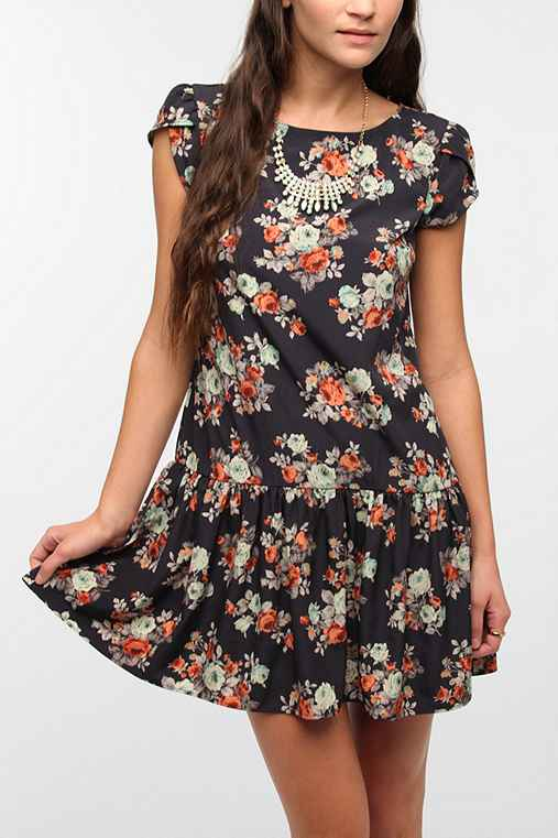 Pins and Needles Tulip Sleeve Drop-Waist Dress