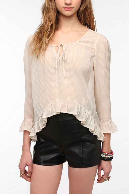 Lucca Couture 3/4 Sleeve Breezy Peplum Blouse