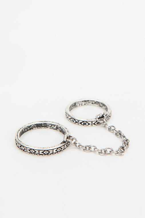 Diamond Etched High/Low Double Ring