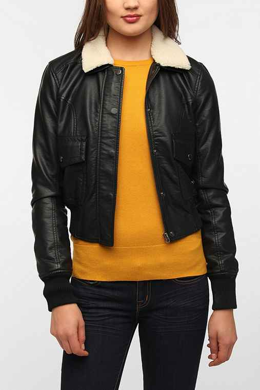 Members Only Sherpa Collar Faux Leather Jacket