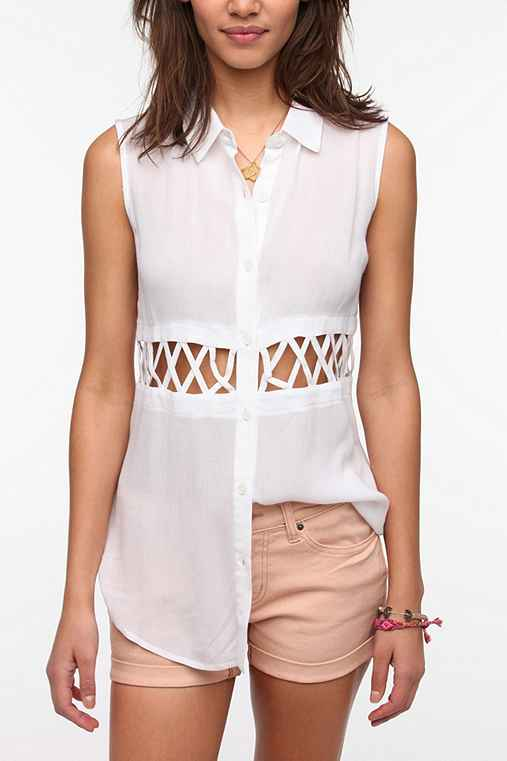 Lucca Couture Lattice Waist Tunic Shirt