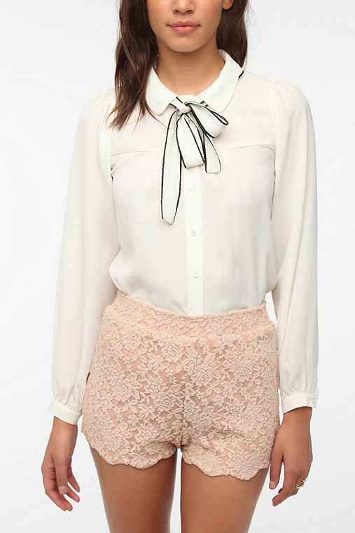 Sister Jane Scalloped Tie-Neck Blouse