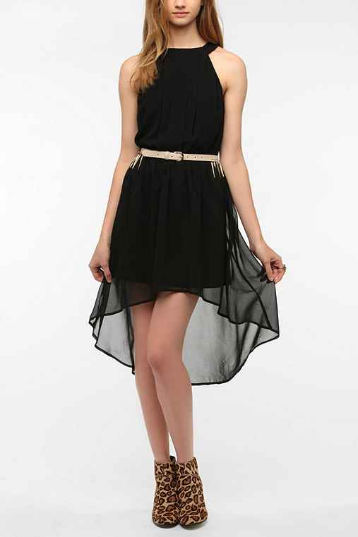 Doe & Rae Chiffon High-Neck Pleat-Front Dress