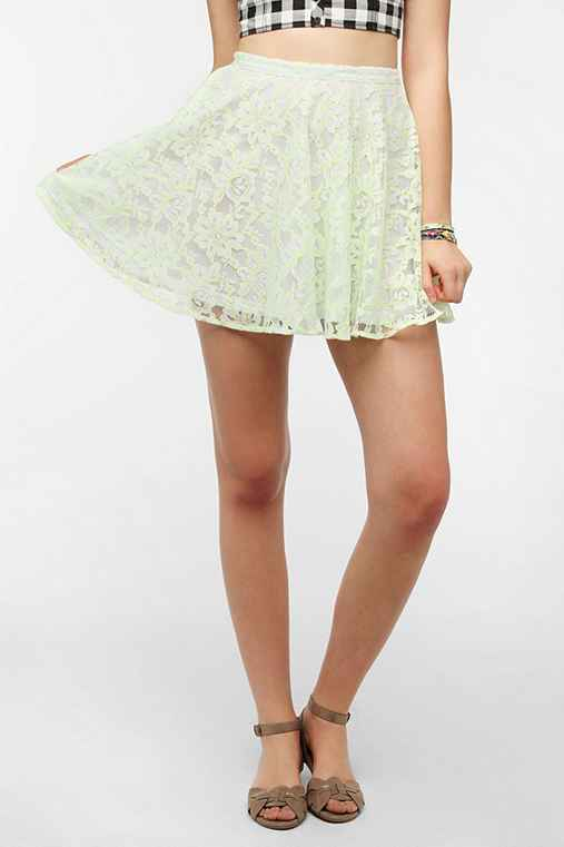 Pins And Needles Neon Lace Circle Skirt