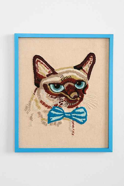 Embroidered Siamese Cat Wall Art