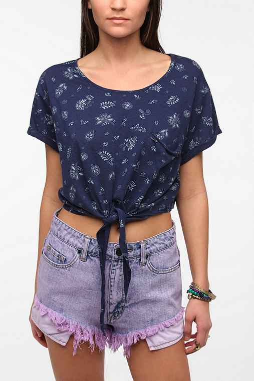 OBEY Dazed Front Knot Cropped Top
