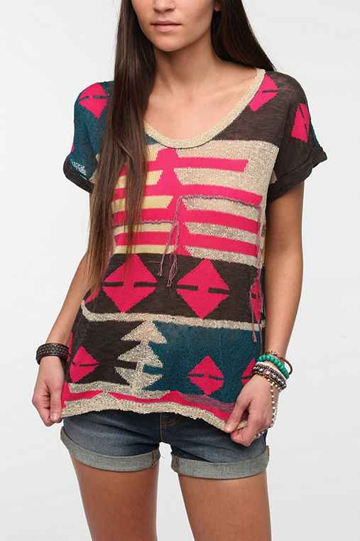Ecote Intarsia Sweater Knit Tee