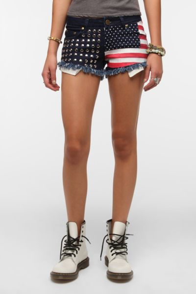 Reverse Americana Studded Denim Short