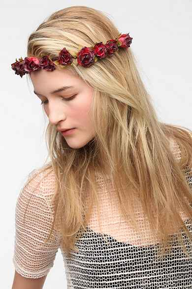 Cult Gaia Crimson Flower Crown Headwrap