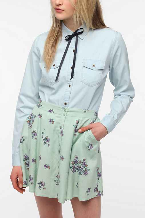 Pins And Needles Ribbon Tie-Neck Chambray Shirt
