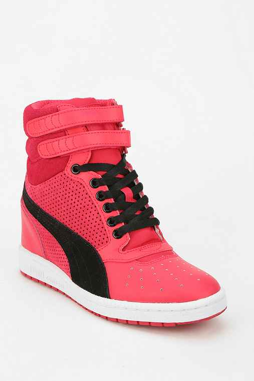 Puma Sky Wedge Leather Hidden Wedge High-Top Sneaker