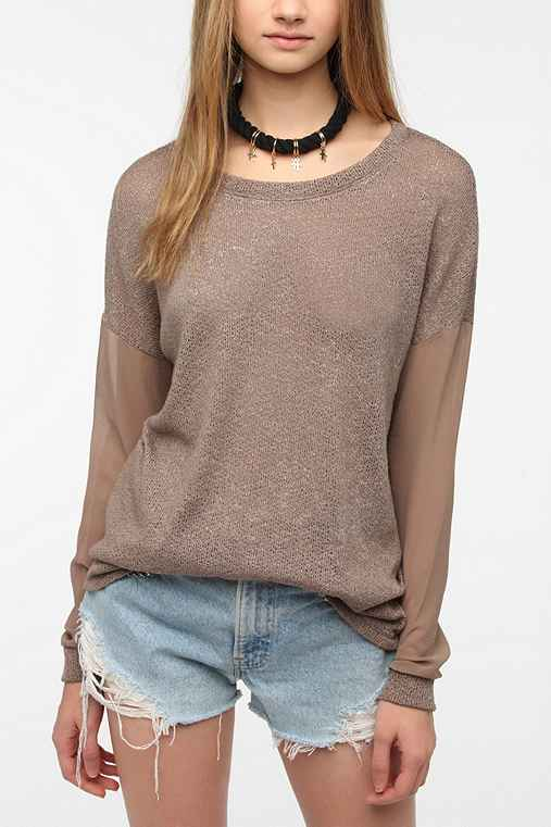 Sparkle & Fade Chiffon Sleeve Sweater Knit Top