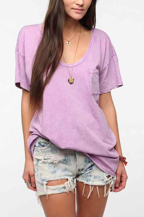 Truly Madly Deeply Deep Scoop Acid-Wash Tee