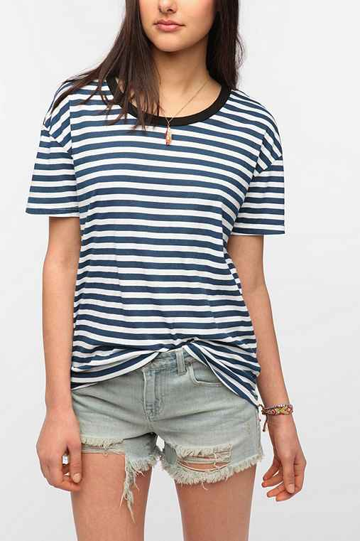 Truly Madly Deeply Oversized Boyfriend Stripe Tee