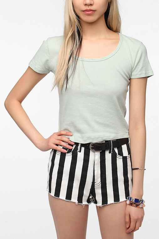 Truly Madly Deeply Scoop Neck Fitted Cropped Tee