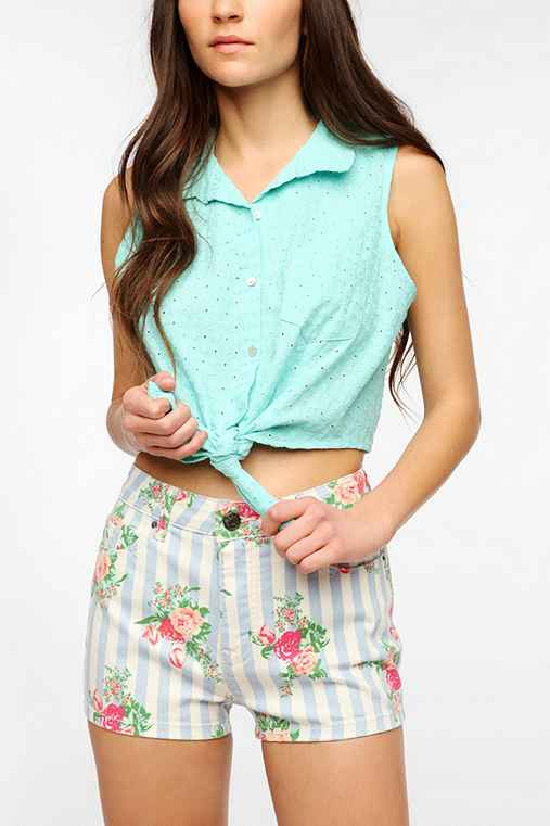 Pins And Needles Pastel Eyelet Tie-Front Shirt