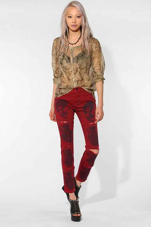 BDG DIY Cigarette High-Rise Jean - Red