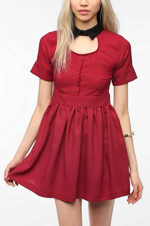 Sister Jane Crepe Cutout Collar Dress