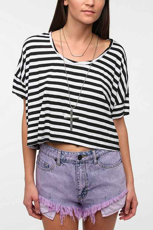 Sparkle & Fade Striped Twist Neck Cropped Tee