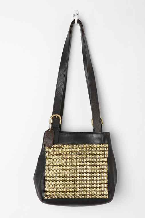 Vintage Studded Black Snap Coach Bag