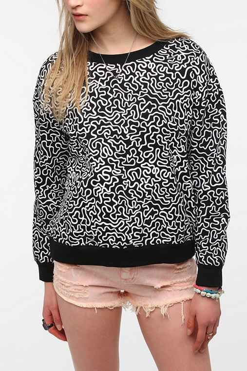 Family Squiggle Print Pullover Sweatshirt