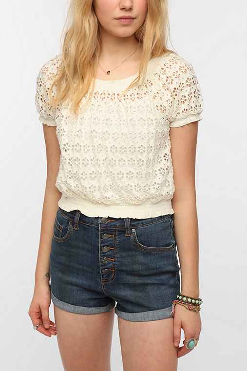 Pins And Needles Smocked Eyelet Top