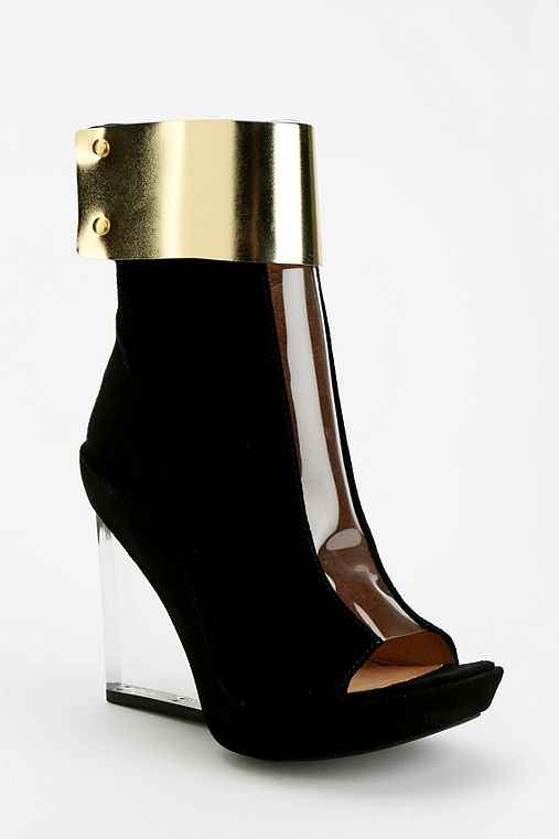 Jeffrey Campbell Roni Clear Wedge Peep-Toe Ankle Boot