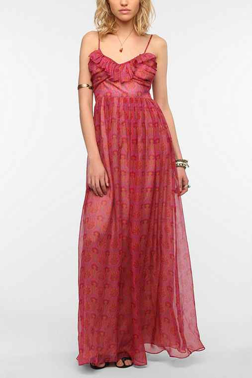 Staring At Stars Printed Silk Ruffle Maxi Dress