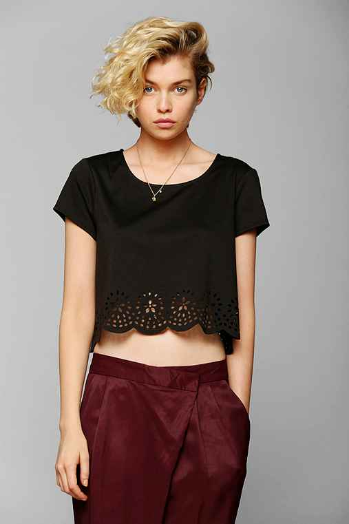Pins And Needles Lasercut Cropped Top