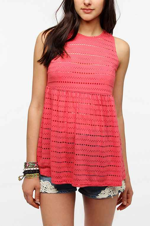 Pins And Needles Eyelet Babydoll Tank Top