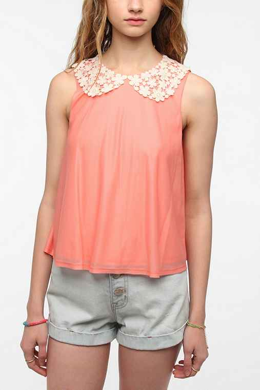 Pins And Needles Lace Collar Swing Tank Top