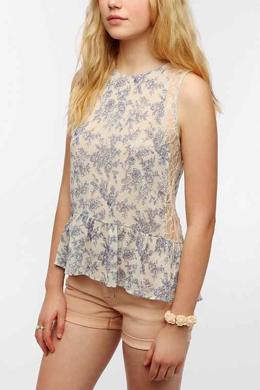 Pins And Needles Lace Inset Drop-Waist Blouse